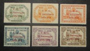 Honduras C181-86. 1951 UPU overprints, NH
