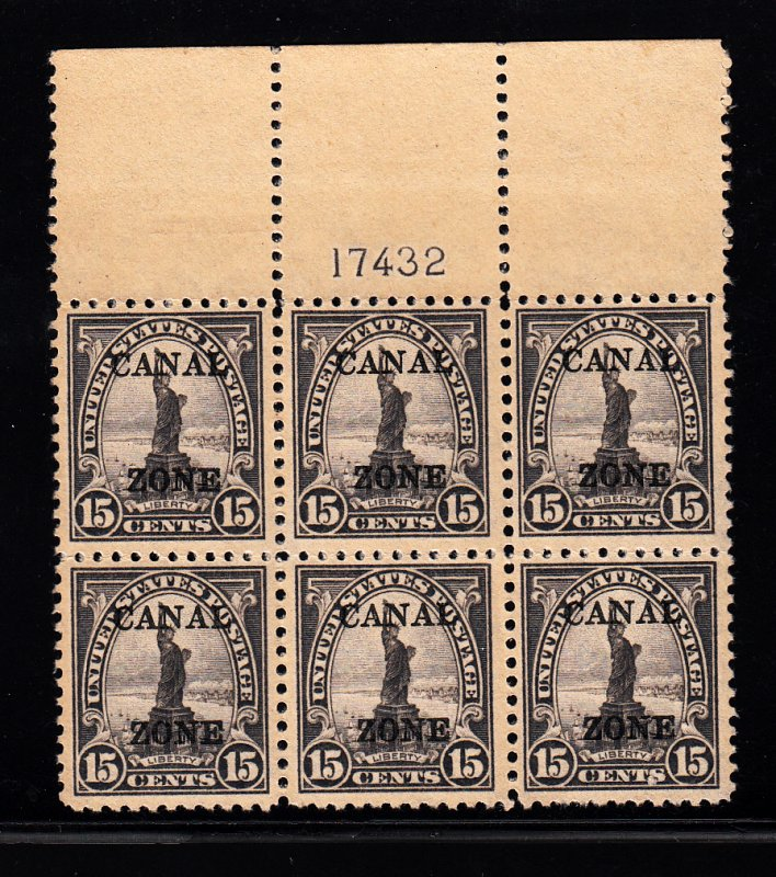 #90 Canal Zone Plate block , F-VF NH! Free certified shipping.