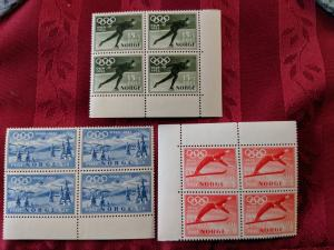 Norway B50-52 VFNH blocks of 4, CV $87