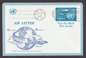 UNITED NATIONAL AIR LETTER SHEET FDC ARTMASTER 10C 1952