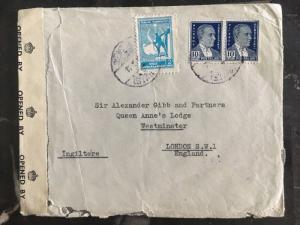1940s Istanbul Turkey Censored cover To London England