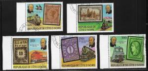 Ivory Coast Sc#514-8 1979 Rowland Hill, Locomotives and...