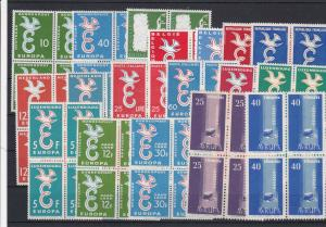 Europa Blocks of Four Mint Never Hinged 1957-58 Stamps Ref 32097
