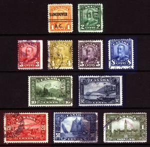 Canada #149-#159 1c-$1 1928-29 King George V Scroll Bluenose Used Set of 11