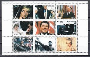 Komi, 1999 Russian Local. Celebrities sheet of 9. Diana, Kennedy, & Presidents.