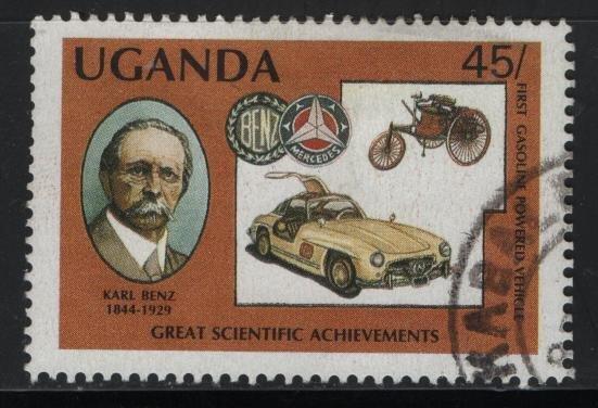 UGANDA 567, USED, 1987 Karl Benz German engineer and Mercedes Benz coupe