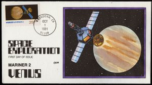 Collins Handpainted FDC Space Exploration: Venus Mariner 2 (10/1/1991)
