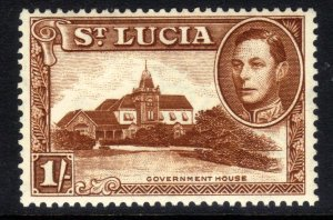 St Lucia 1938 - 48 KGV1 1/-d Goverment House MM SG 135 ( T722 )