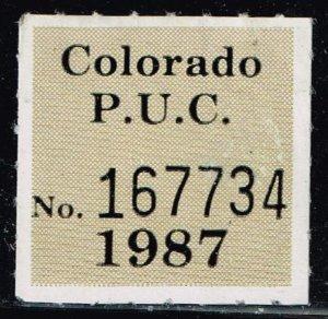 US STAMP STATE OF COLORADO P. U. C. LABEL STAMP 1987
