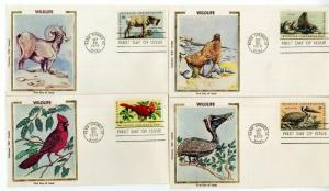 US Stamps # 1464-67 8c Wildlife First Day Cover Clean Set Rare Colorano Cachet