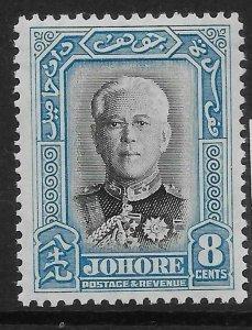 MALAYA JOHORE SG130 1940 8c BLACK & PALE BLUE MTD MINT