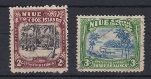 BC1003) Niue 1938 Pictorials 2/- Black & red-brown & 3/- Blue & yellowish-green
