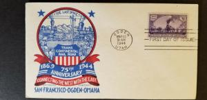 1944 Ogden Utah USA Railroad First Day Illustrated Cachet Craft Staehle Cover