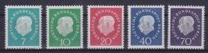 Germany Berlin 1959 MNH Stamps Scott 9N165-169 Definitives President Heuss