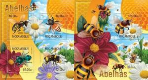Mozambique 2013 bees insects of africa kbl+s/s MNH