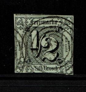 Thurn and Taxis SC# 3a?, Used (Noted Mi# 3), Hinge Remnant, vert crease - S3746