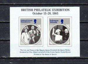 Great Britain, 1985 Cinderella issue. British Philatelic Expo s/sheet. Royalty.