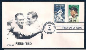 UNITED STATES FDC 25¢ Lou Gehrig COMBO 1989 JDM