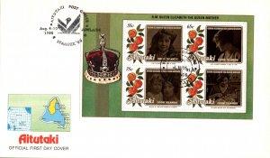 Aitutaki 376a Queen Mother Souvenir Sheet U/A FDC