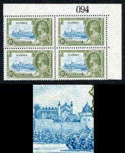 Gambia SG145c 1935 Silver Jubilee 6d Variety Lightning Conductor M/M