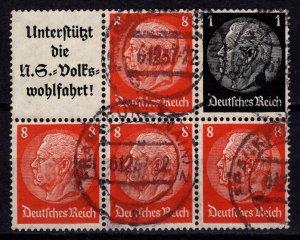 Germany 1933 President von Hindenburg Definitives, Block of 6 [Used]