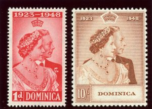Dominica 1948 KGVI Silver Wedding set complete MNH. SG 112-113. Sc 114-115.