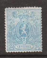 Belgium Sc 25b MLH. 1867 2c blue Coat of Arms, perf 15