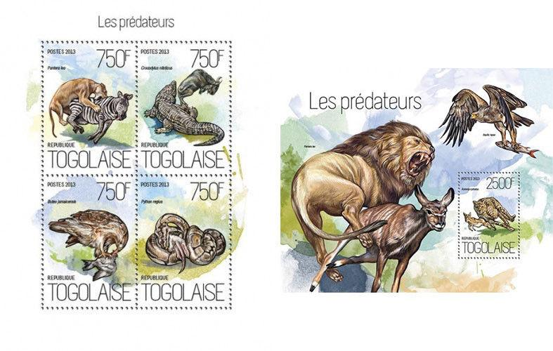 Predators Raubtiere Birds Reptiles Cats Snakes Animals Fauna Togo MNH stamp set