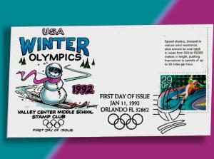 Skiing Snowman on Handcolored 1992 Winter Olymics FDC - Speed Skater Single
