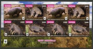 GUYANA  2017  WWF WORLD WILDLIFE FUND GIANT ARMADILLO  SHEET(8)  MINT NH