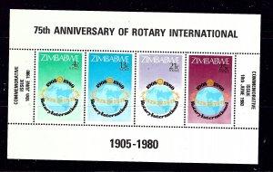 Zimbabwe 432a MNH 1980 Rotary Intl S/S