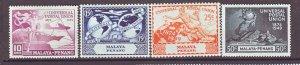 J22390 Jlstamps 1949 malaya-penang set mlh #23-6 upu