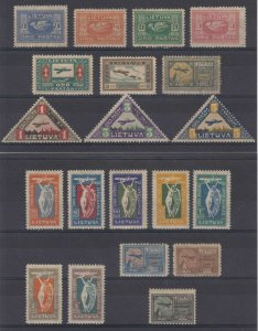 LITHUANIA 1921-22 AIRPOST Sc C1-C20 Yvert PA1-20 FOUR SETS HINGED MINT €50.50+