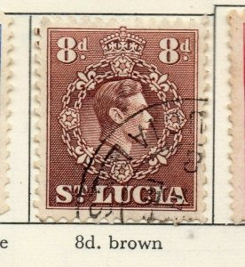 St Lucia 1938-48 GVI Early Issue Fine Used 8d. NW-154979