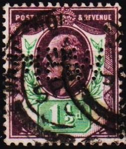 Great Britain. 1902 1 1/2d(Perfin MBW) S.G.221 Fine Used