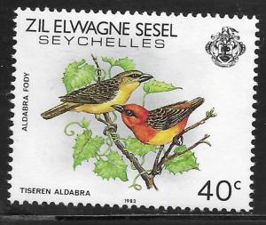 Seychelles - Zil Elwannyen Sesel #55 40c Birds - Aldabra Fody MNH