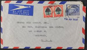 South Africa 1946 Airmail Cover, Pair of 6d & Single 3d, Bergville Cancel to LA