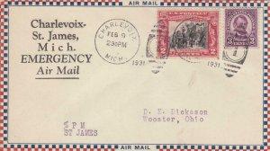 1931, Charlevoix-St. James, MI Emergency Airmail (S16041)