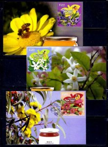 ISRAEL STAMPS 2019 FESTIVALS HONEY FLOWERS 3 STAMPS FROM SHEET MAXIMUM CARDS