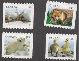Canada #2426ii-29ii MNH die cut coils set, Baby Wildlife, issued 2011
