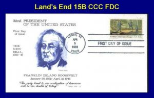 Land's End 2037 Civilian Conservation Corp on FDR New Deal Cachet Luray, VA