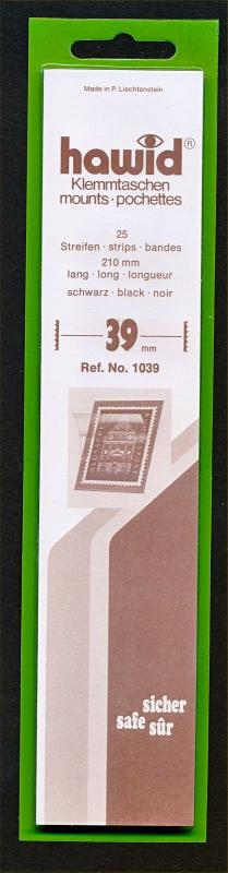 Hawid Stamp Mounts Size 39/210 BLACK Background Pack of 25