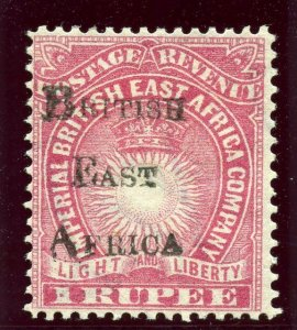 British East Africa 1895 QV 1r carmine MLH. SG 43. Sc 48.