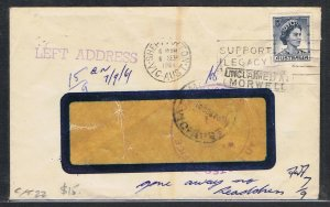1961 5d blue QEII on window cover with various redirection markings NS639