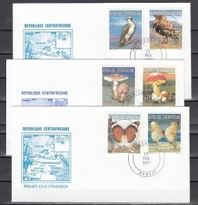 Central Africa, Scott cat. 1131-1136. B/fly, Mushrooms, Bird. First day cover. ^