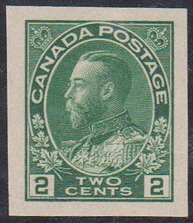 Canada - 2c Green Admiral Imperf. VF mint #137