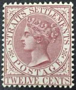 MALAYA Straits Settlements 1882 QV 12c Mint CrownCA Brown-Purple SG#67 CV£85