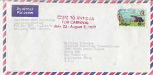 ANT21) Antigua-USA 1977 cover- canon of Fort James