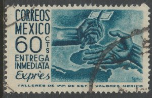 MEXICO E15, 60cents 1950 Definitive 2nd Printing wmk 300. USED. F-VF. (1473)
