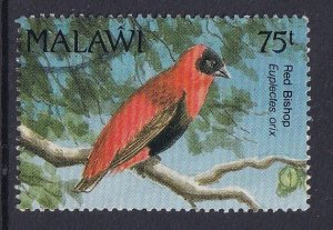Malawi   #598a  used  1992  birds   red bishop  75t